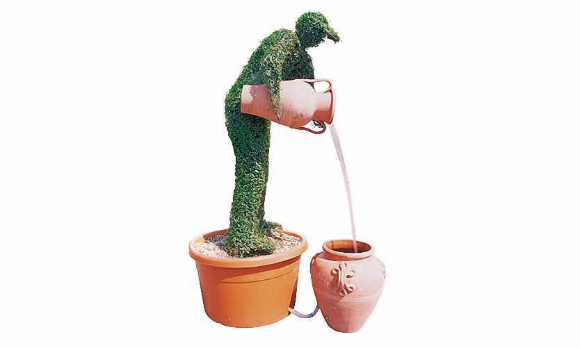Topiary Man With Two Amphora Water Feature (Ligustrum Jonandrum)